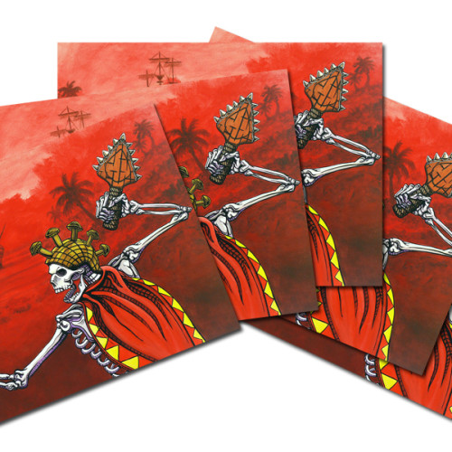 Hawaiian Warrior Day of the Dead postcards
