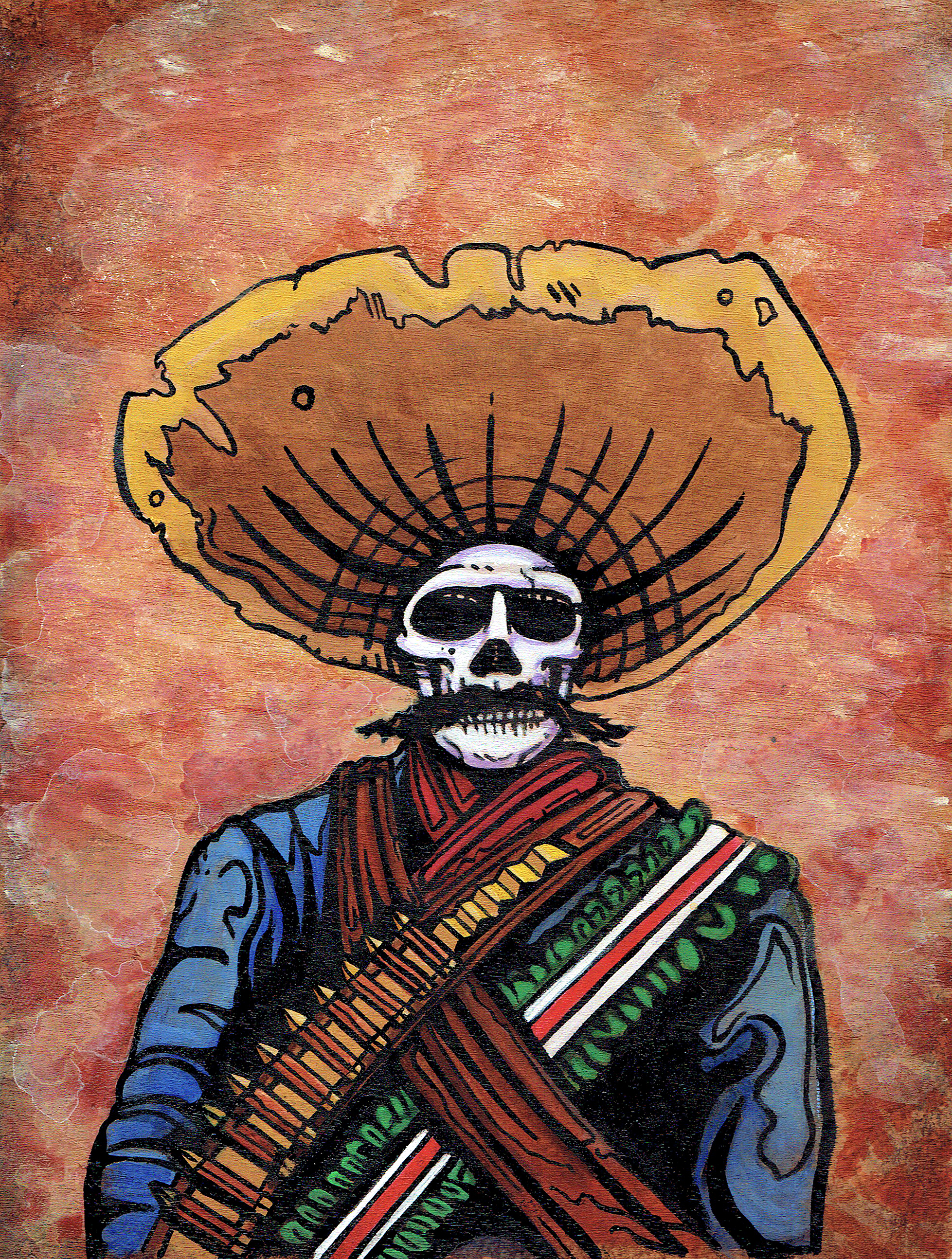 Mexican revolutionary portrait of skeleton zapata for Virtual tattoo workshop