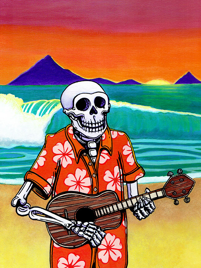 Day Of The Dead Art Skeleton Playing Ukulele In An Aloha Shirt