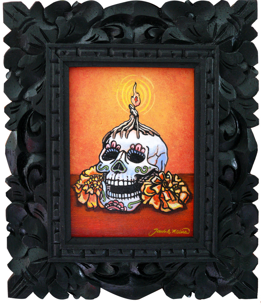 Day Of The Dead Art Skull With Marigolds And Candles
