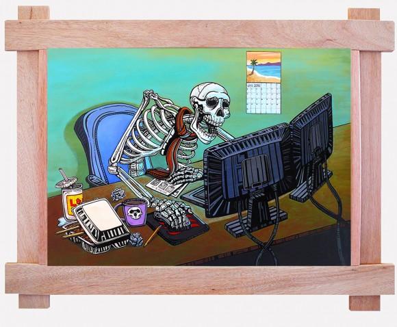 skeleton at an office job