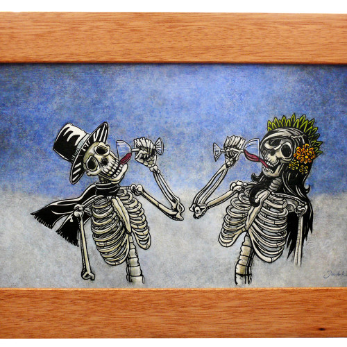 skeletons drinking wine with custom cork frame