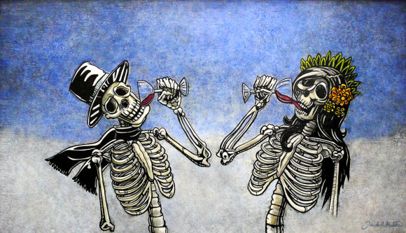 Skeletons drinking wine