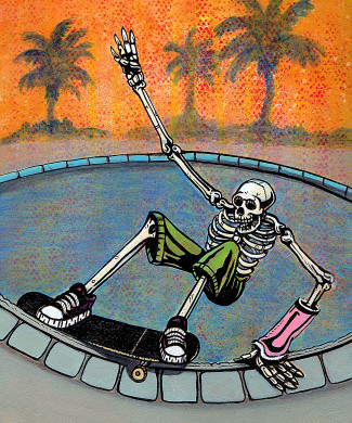 Skeleton skateboarding a pool